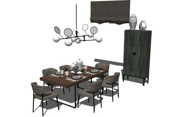 新中式餐桌椅酒柜吊灯