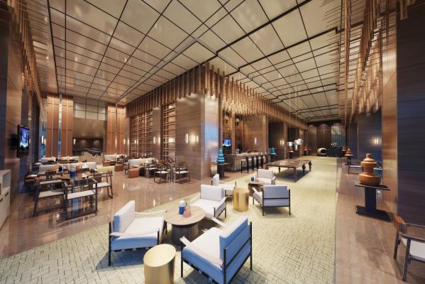 现代酒店会客区洽谈区休闲区