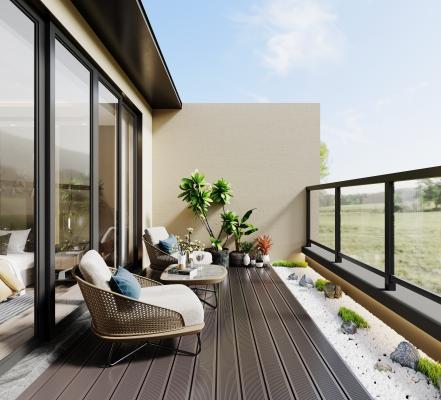 现代露台 阳台 休闲桌椅 室外桌椅 植物