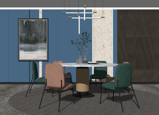 现代轻奢圆形餐桌椅