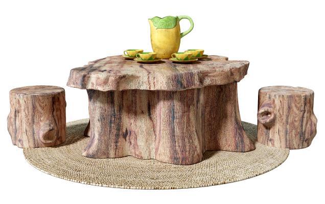 侘寂根雕茶几 木桩桌凳