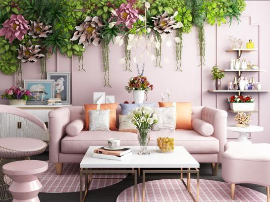 北欧美容院 粉色沙发 植物墙组合