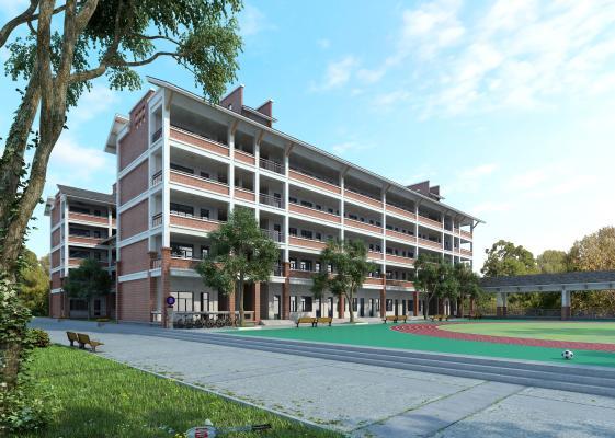 现代学校教学楼 操场