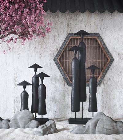 新中式斗笠渔翁雕塑 梅花