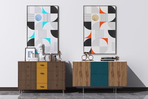 现代餐边柜装饰柜组合 矮柜 装饰挂画