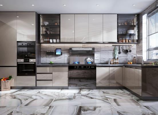 现代风格厨房 橱柜 集成灶 蒸烤箱