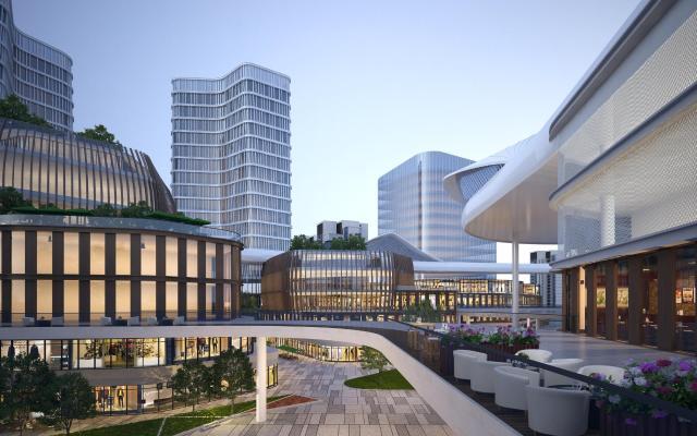 现代办公楼 商业综合体 商业街