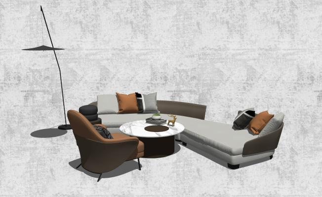 现代异形沙发茶几组合
