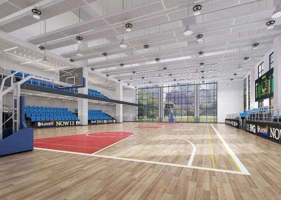 现代篮球馆 吊灯 椅子