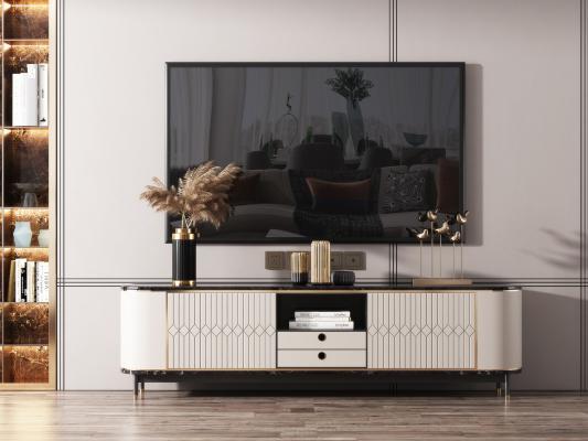 现代风格电视柜 摆件组合