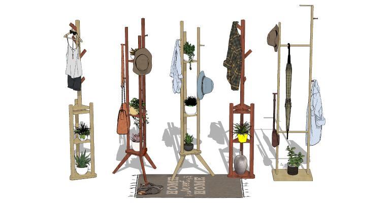 现代木质落地挂衣架