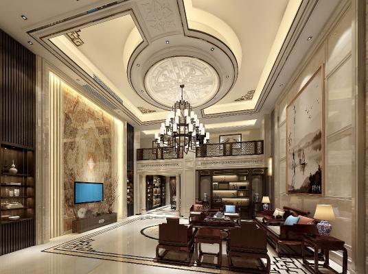 新中式复式客厅
