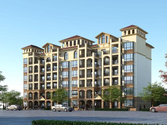 地中海风格住宅 简欧六层住宅 西班牙风格小高层住宅