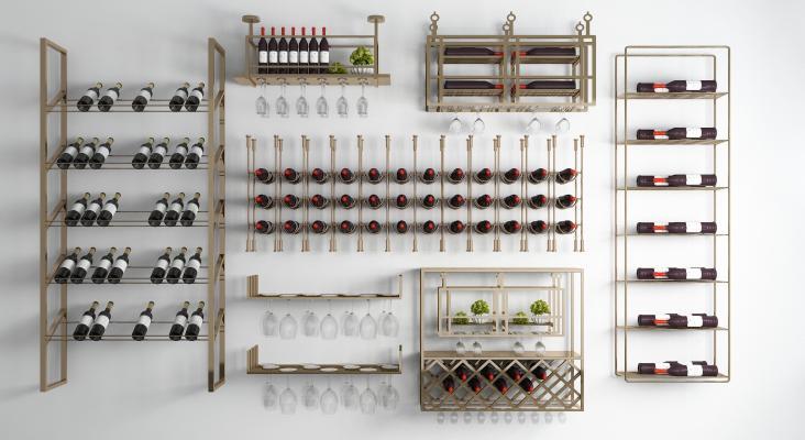 现代金属红酒架酒杯架组合