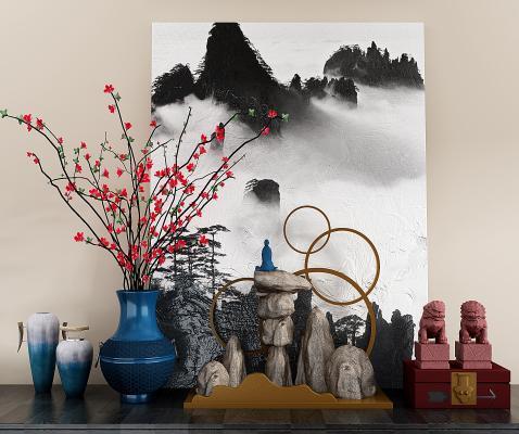 新中式花瓶 假山 獅子