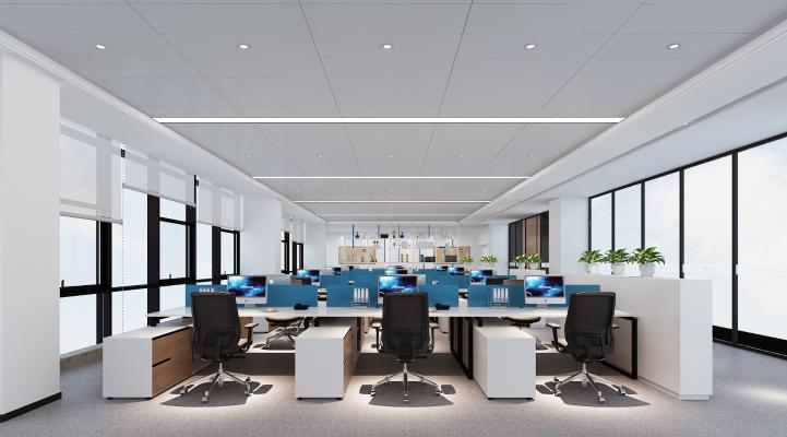 现代敞开式办公区 书柜 办公桌椅