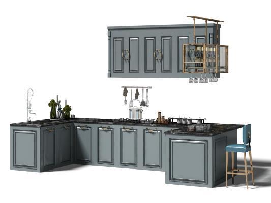 歐式簡約廚房櫥柜 廚具 吧椅