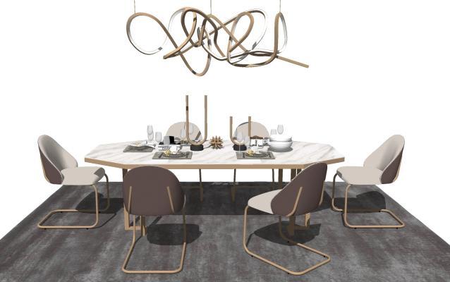 现代风格餐桌椅组合 酒柜 吊灯