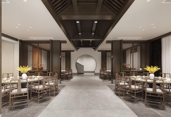 新中式餐厅大厅