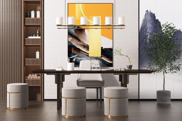 新中式书桌椅组合 吊灯 书柜
