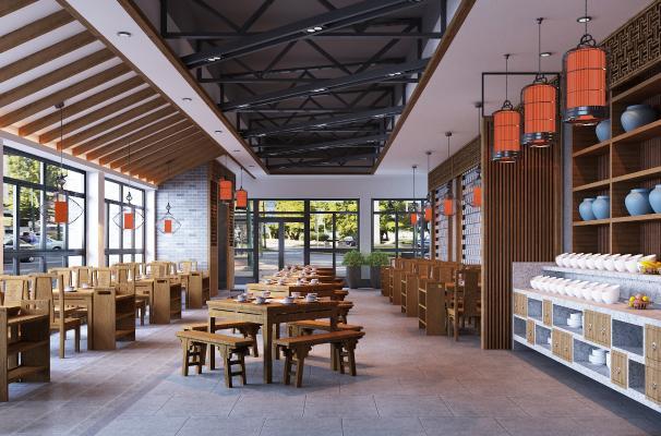 新中式火锅店 餐桌椅