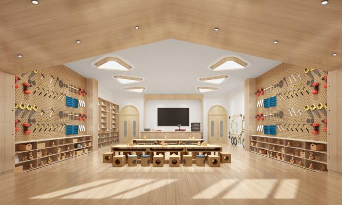 现代幼儿园美工室 课室 手工室