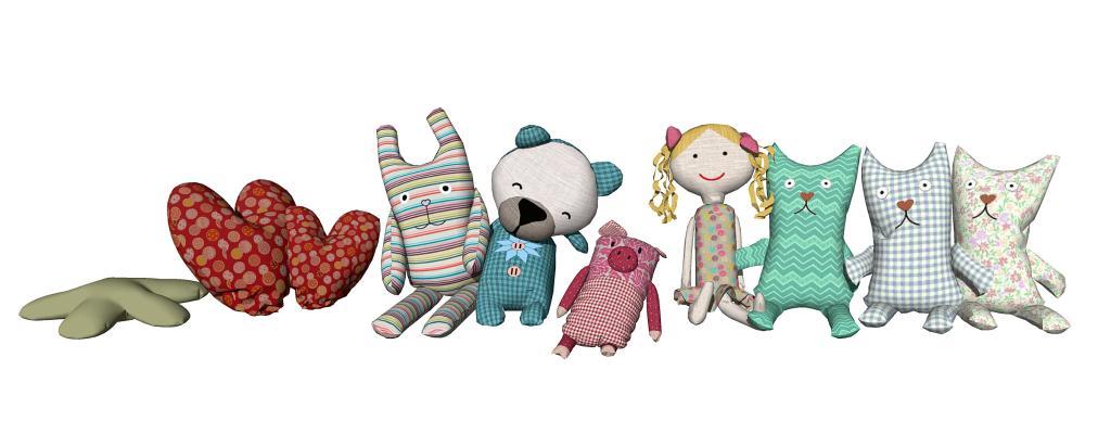 现代玩具组合 儿童布偶