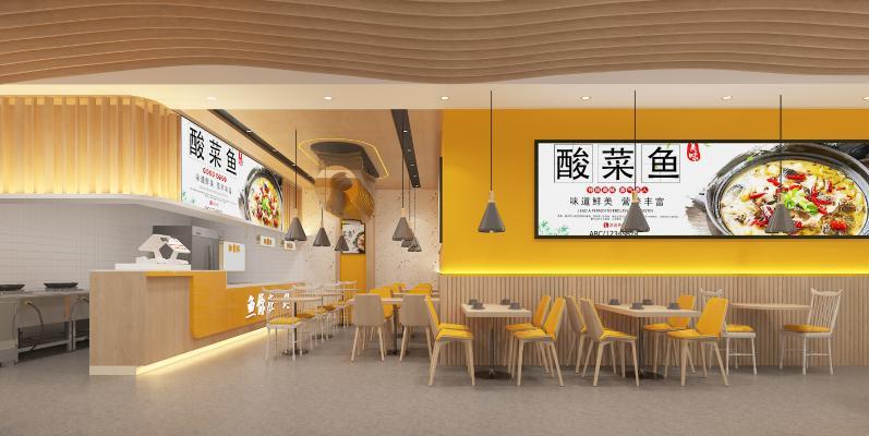 现代酸菜鱼餐厅餐饮 吊灯 收银台