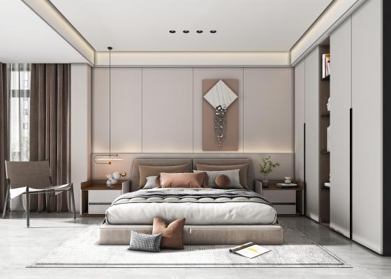 现代家居卧室 卧室 床