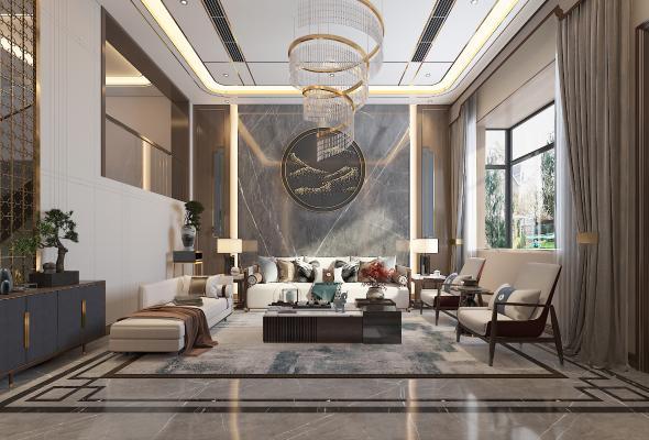 新中式别墅客厅 吊灯 墙饰