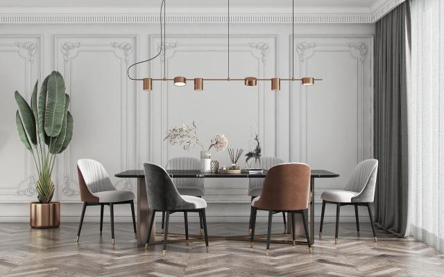 现代餐厅 现代餐桌椅组合 现代吊灯