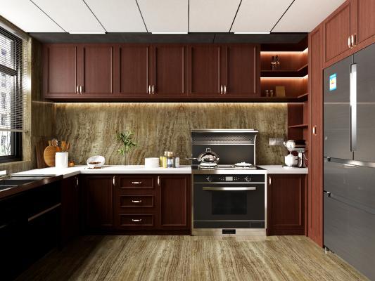 美式廚房 櫥柜 冰箱