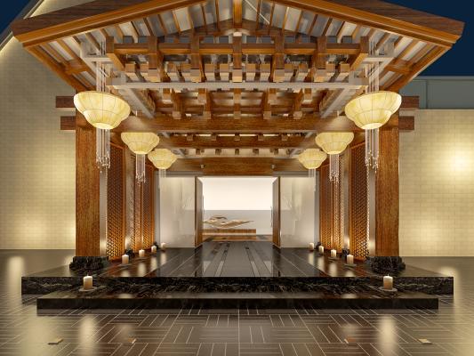 中式酒店大堂 户外门头