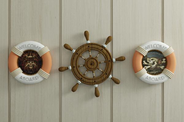现代船舵 救生圈