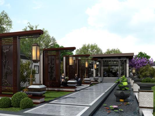 新中式景观小品 庭院景观