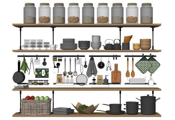 现代厨房用品组合 调料架 玻璃罐子