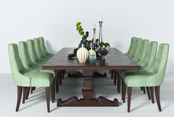 美式实木餐桌椅组合