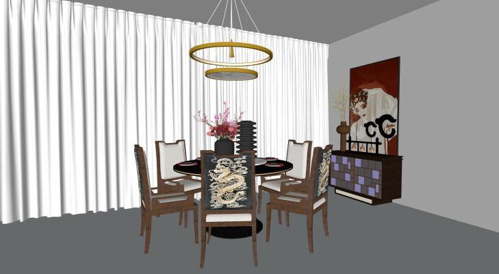 新中式餐桌椅子组合