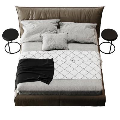 现代布艺双人床 床头柜
