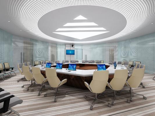 现代公司会议室 六边形桌子 铝板吊顶