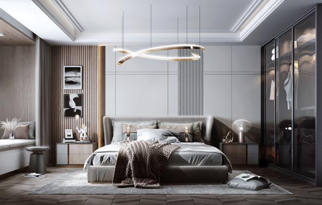现代风格卧室 双人床 衣柜