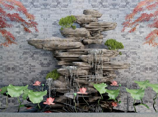 新中式假山荷花景观小品