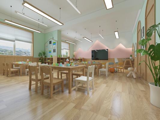 北欧幼儿园教室 吊灯 桌椅