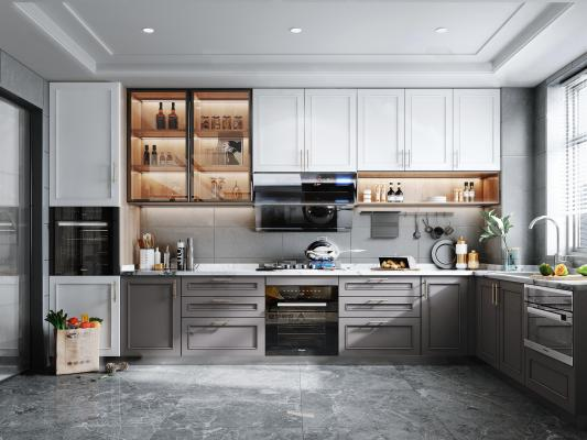 北欧风格厨房 橱柜 集成灶