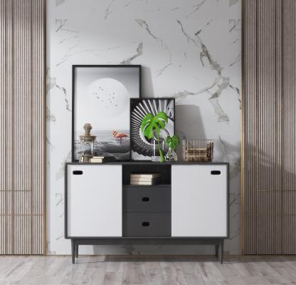 现代实木边柜 摆件 装饰画