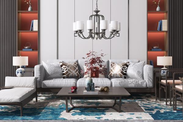 新中式沙发茶几 组合沙发 休闲椅 边几 台灯