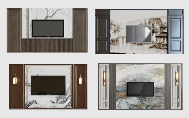 新中式电视背景墙组合