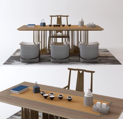 中式家居茶几组合