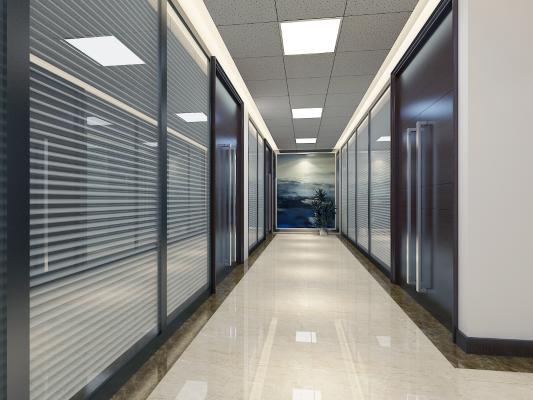 现代风格走廊 矿棉板 玻璃高隔
