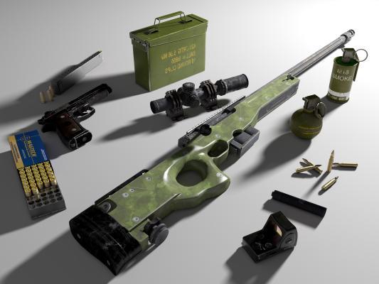 现代单发狙击步枪AWM 8倍瞄准镜 消音器